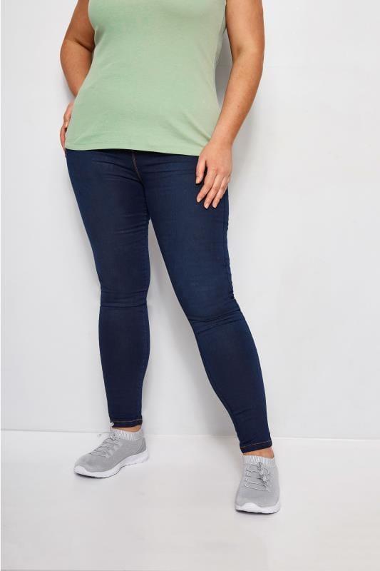 Plus Size Shaper Jeans Indigo Blue Pull On LOLA Jeggings