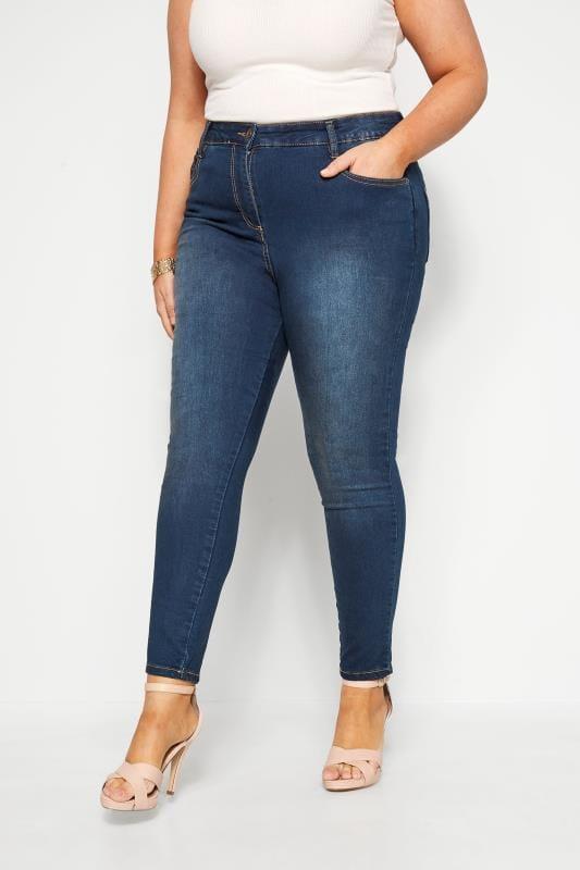 Plus Size Skinny Jeans Indigo Blue Skinny Stretch AVA Jeans