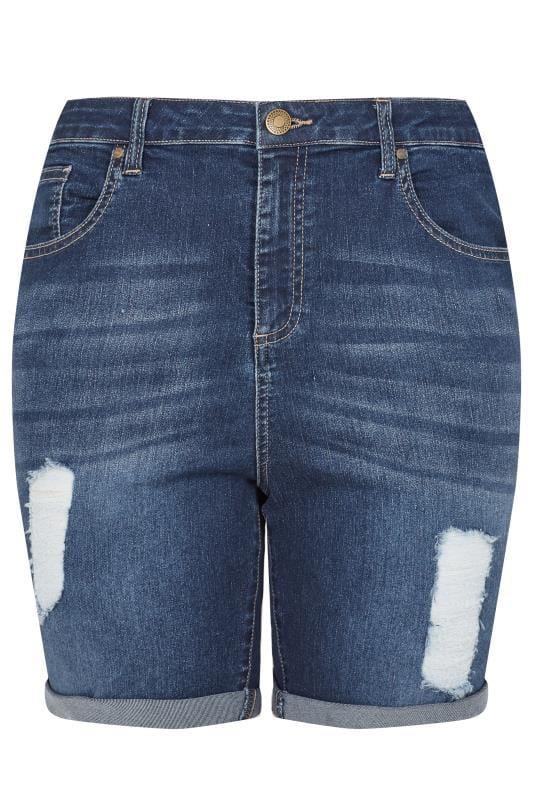 LIMITED COLLECTION Indigo Distressed Denim Shorts_e21d.jpg