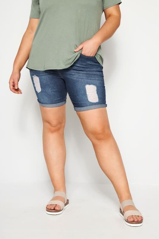 Большие размеры | Джинсовые шорты Рваные джинсовые шорты синего цвета индиго