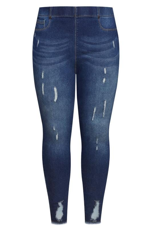 Indigo Distressed Cat Scratch JENNY Jeggings