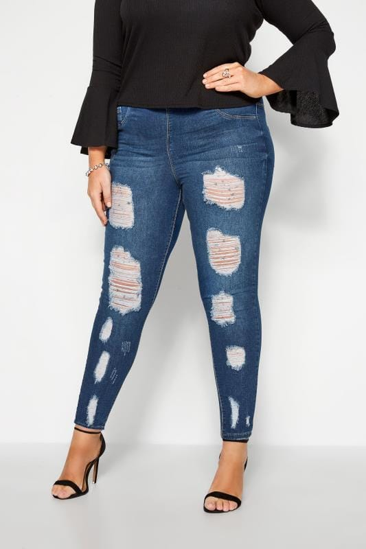 Jeggings Grande Taille Indigo Rip and Repair JENNY Jeans