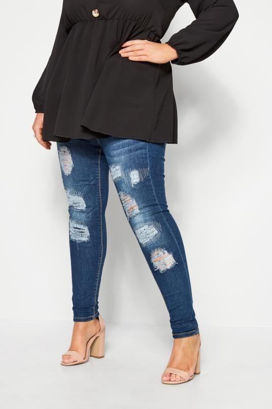 Plus-Größen Jeggings Indigo Rip and Repair JENNY Jeans