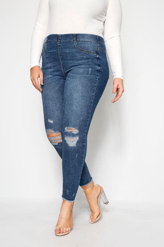 Plus Size Jeggings Indigo Ripped JENNY Jeggings