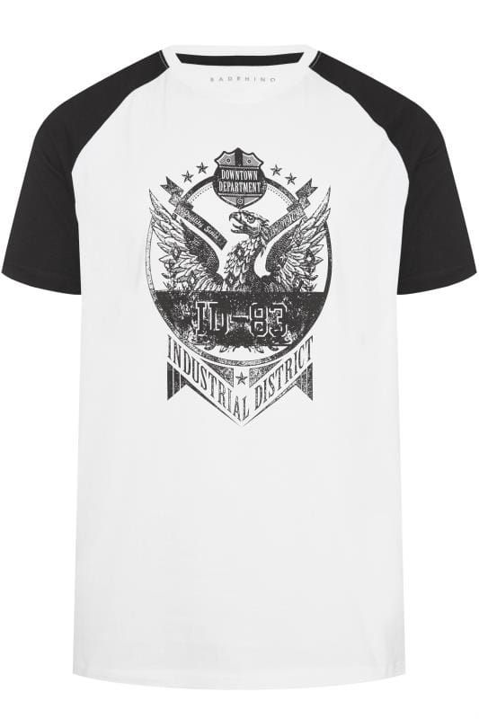 T-Shirts BadRhino Black & White Graphic Raglan T-Shirt 201268