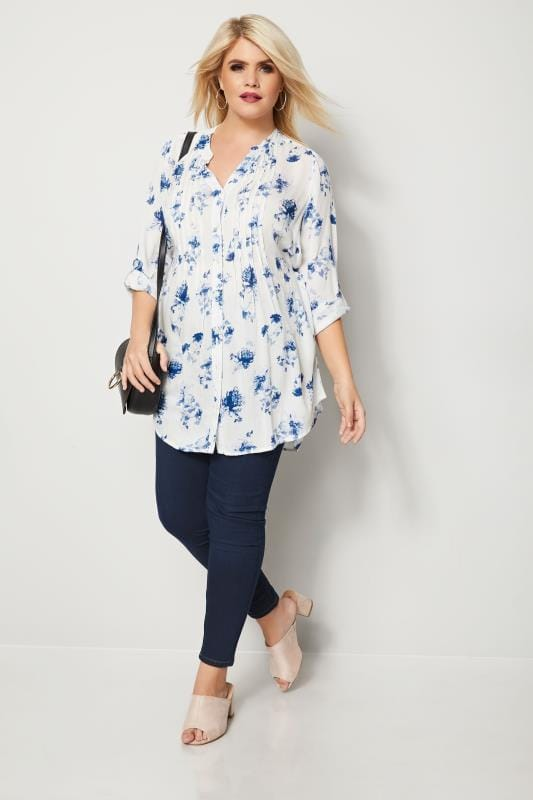 Ivory & Blue Floral Pintuck Blouse