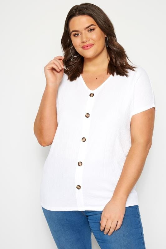 Plus Size Day Tops White Crinkle Jersey Top