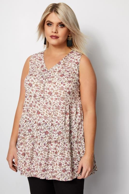 Plus Size Day Tops Ivory Floral Longline Top With Lattice Detail