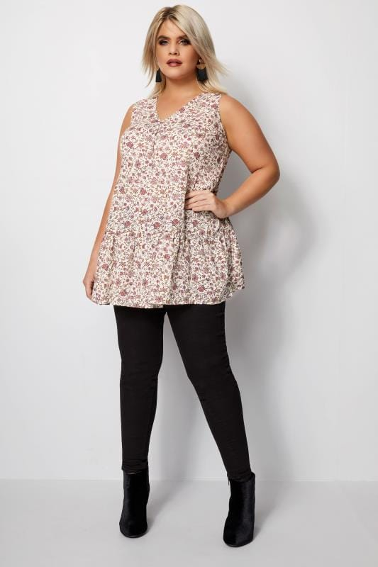 Ivory Floral Longline Top With Lattice Detail