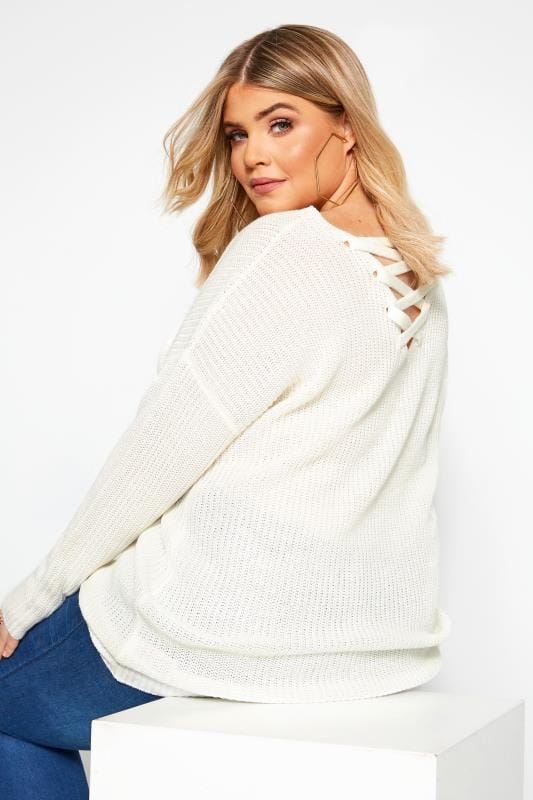 Plus Size Jumpers Ivory Lattice Back Jumper