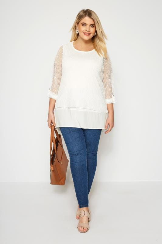 Ivory Layered Crochet Top