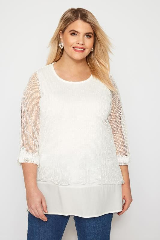 Plus Size Day Tops Ivory Layered Crochet Top
