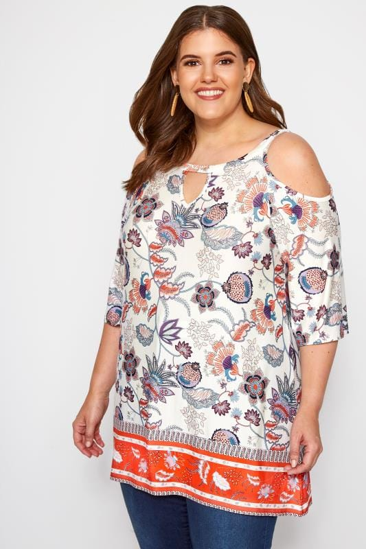 Plus Size Bardot & Cold Shoulder Tops Ivory Paisley Cold Shoulder Keyhole Top