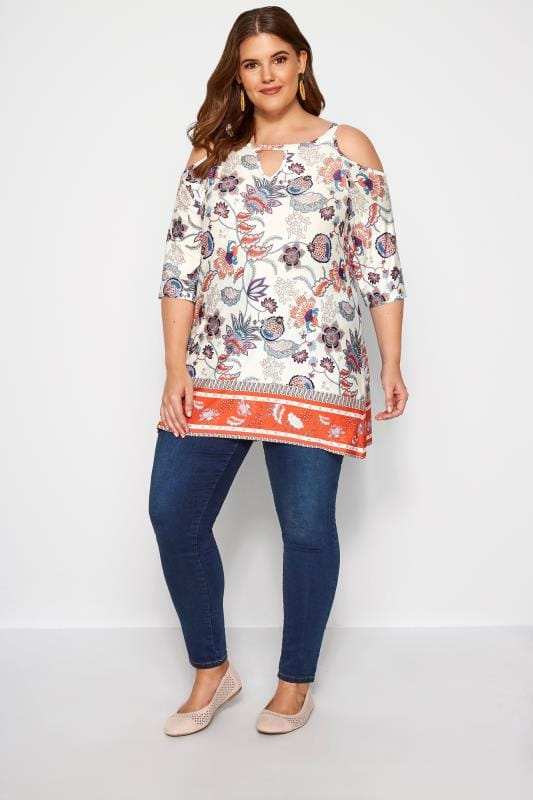 Ivory Paisley Cold Shoulder Keyhole Top