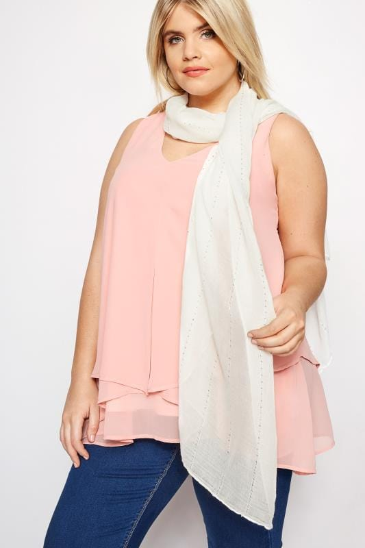 Plus Size Scarves Ivory Sparkle Scarf