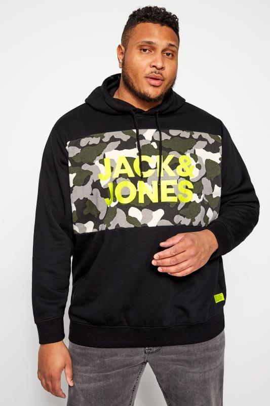Plus Size Hoodies JACK & JONES Black Camo Hoodie