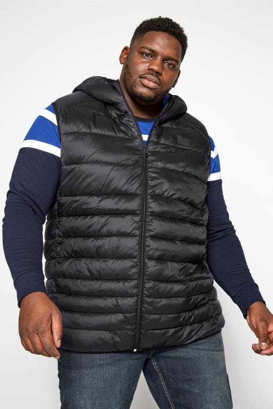 Gilets Grande Taille JACK & JONES Black Padded Hooded Gilet