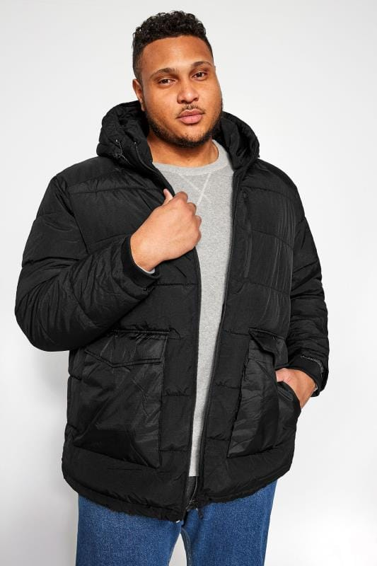Plus-Größen Jackets JACK & JONES Black Padded Puffer Jacket