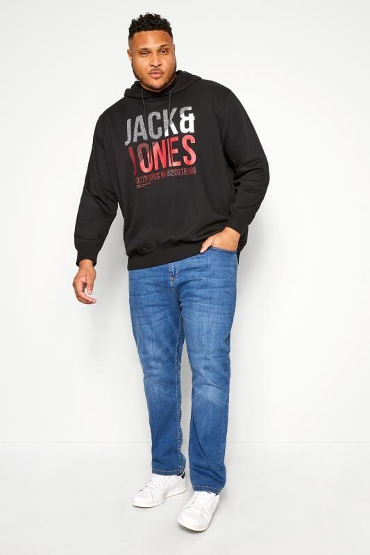 JACK & JONES Black Printed Hoodie