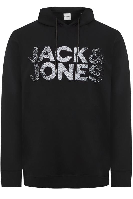 Plus Size Hoodies JACK & JONES Black Printed Logo Hoodie