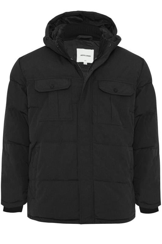 Plus Size Coats JACK & JONES Black Puffer Jacket