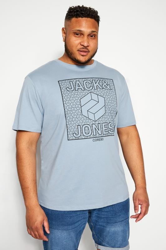 Plus-Größen Beauty JACK & JONES Blue Graphic Print Logo T-Shirt
