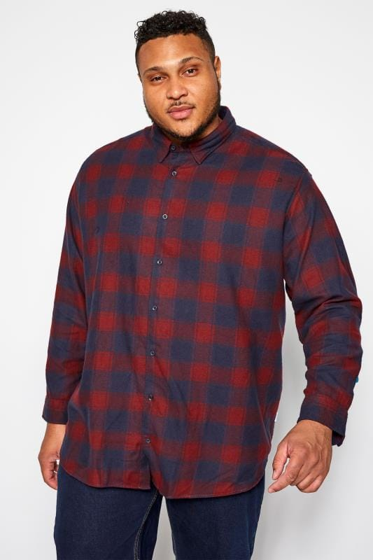 Große Größen Casual Shirts JACK & JONES Burgundy & Navy Check Shirt