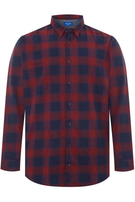 Casual Shirts JACK & JONES Burgundy & Navy Check Shirt 201357