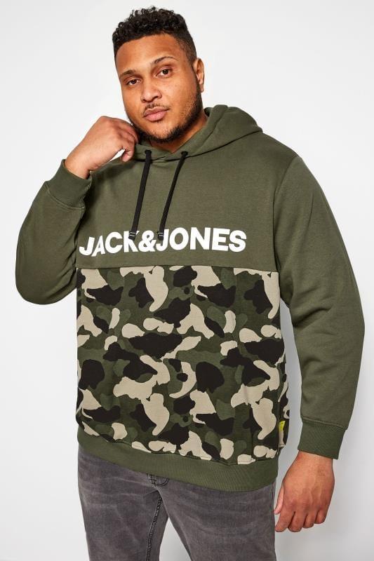 Plus-Größen Hoodies JACK & JONES Green Camo Hoodie