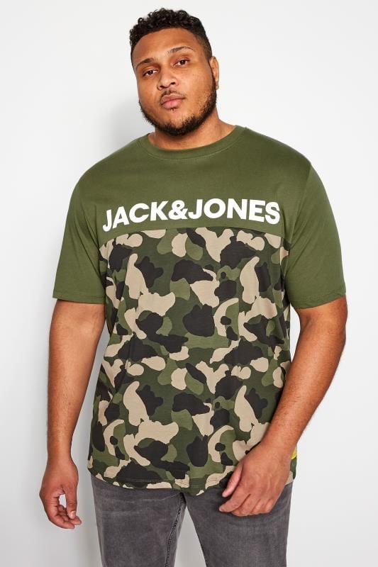 Plus Size T-Shirts JACK & JONES Green Camo T-Shirt