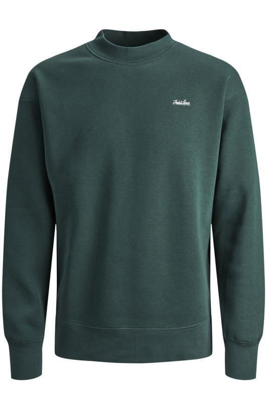 Men's Sweatshirts JACK & JONES Green Crew Neck Sweatshirt