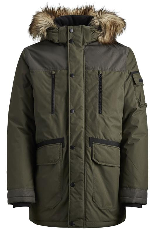 Plus Size Coats JACK & JONES Green Faux Fur Parka Coat