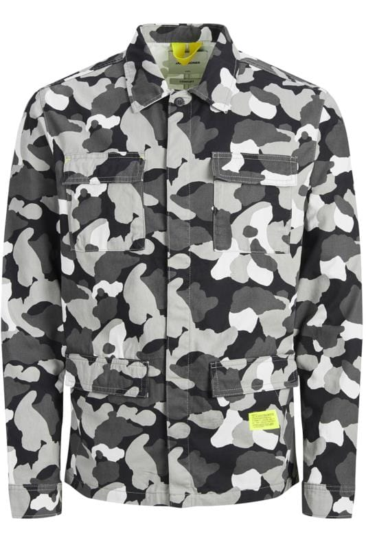 Casual Shirts JACK & JONES Grey Camo Overshirt
