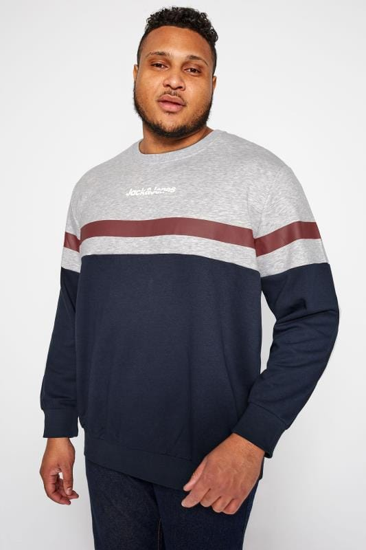 Sweatshirts JACK & JONES Grey & Navy Colour Block Sweatshirt  201984