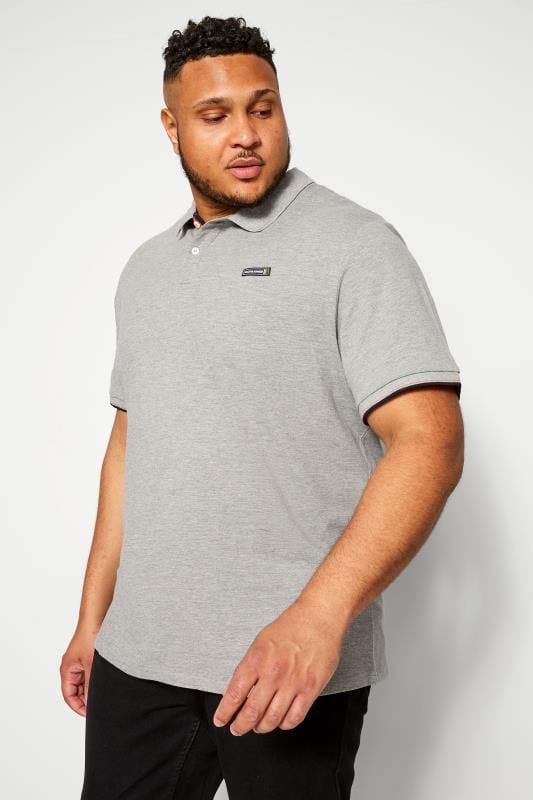 Polo Shirts JACK & JONES Grey Logo Badge Polo Shirt 201392