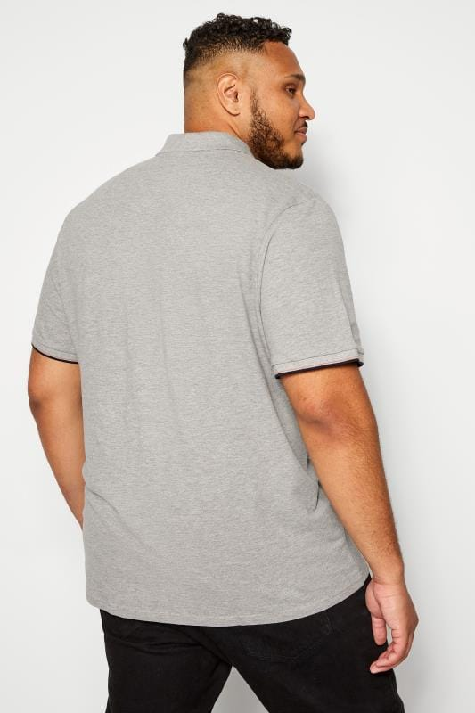 JACK & JONES Grey Logo Badge Polo Shirt