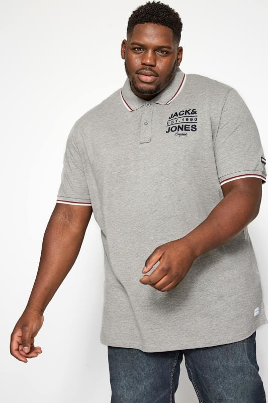 Polo Shirts Grande Taille JACK & JONES Grey Polo Shirt