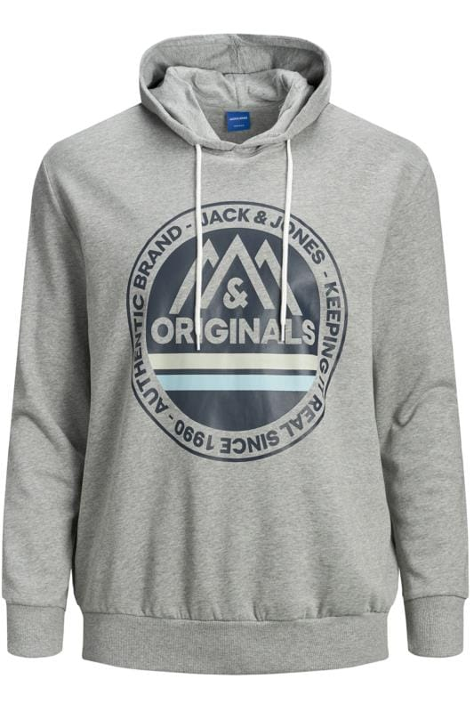 Hoodies JACK & JONES Grey Printed Originals Logo Hoodie 201988