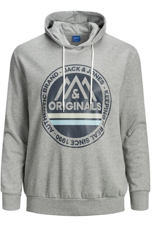 JACK & JONES Grey Printed Originals Logo Hoodie