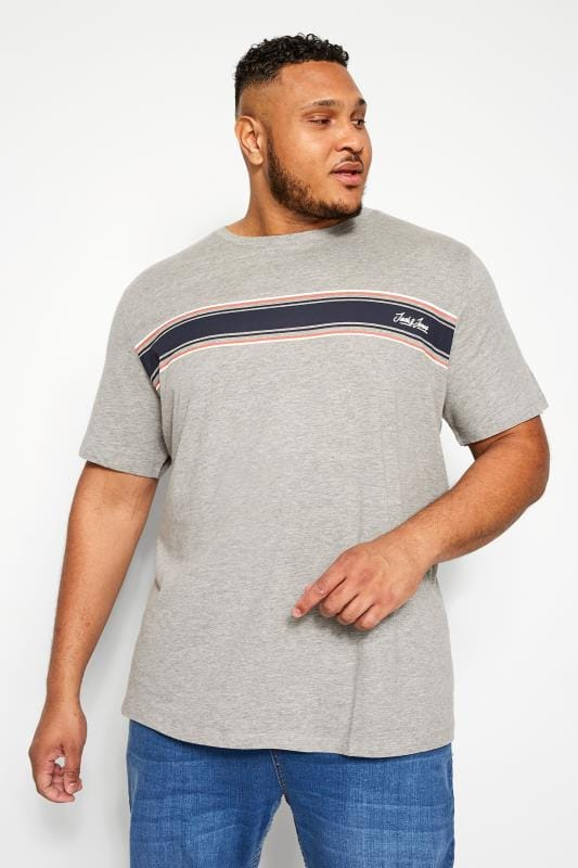 T-Shirts JACK & JONES Grey Stripe T-Shirt 201992