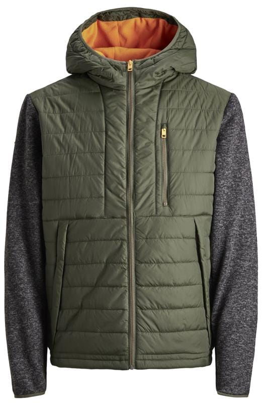 Plus Size Jackets JACK & JONES Khaki Contrast Sleeve Padded Jacket