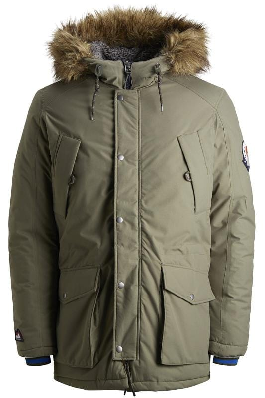 Plus Size Coats JACK & JONES Khaki Parka Coat