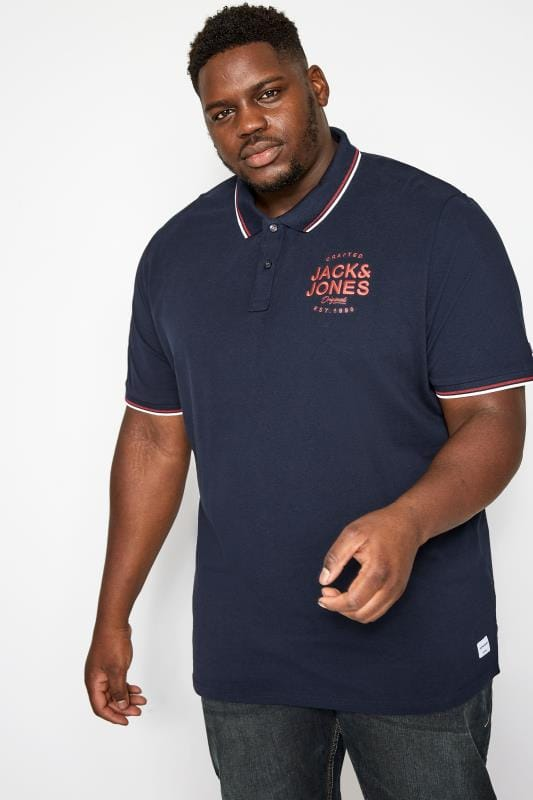 JACK & JONES Navy & Blue Polo Shirt