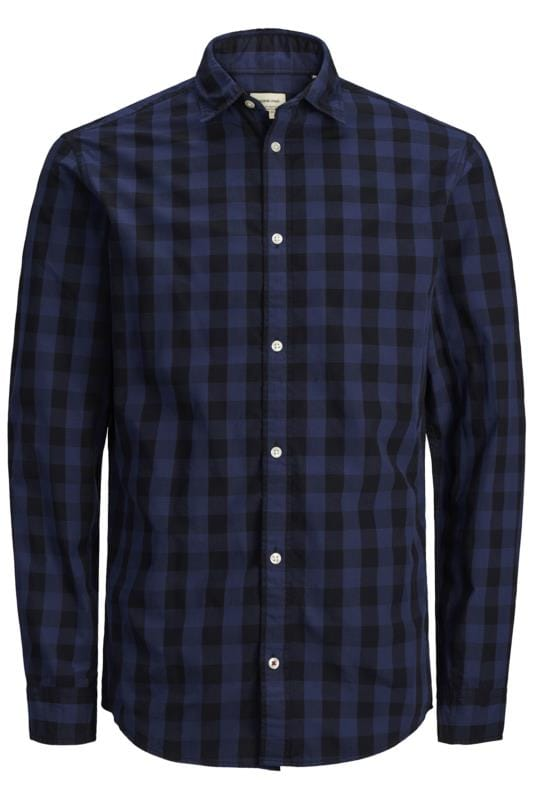 Casual Shirts JACK & JONES Navy Gingham Check Shirt 201985