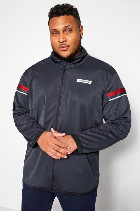 JACK & JONES Navy High Neck Zip Through Sweat