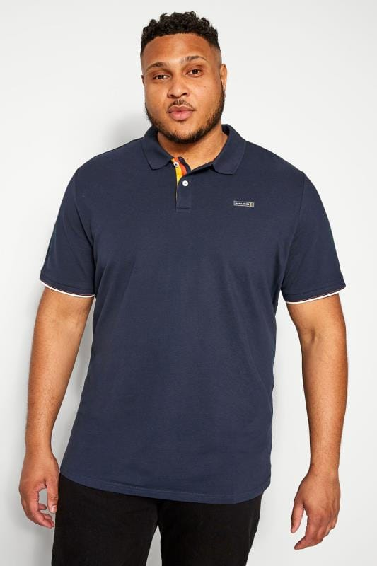 Plus Size Polo Shirts JACK & JONES Navy Logo Badge Polo Shirt