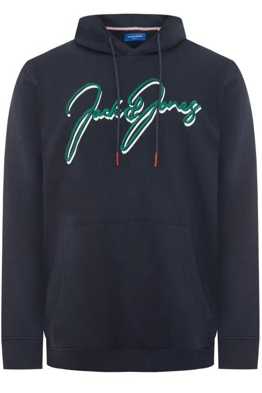 Plus Size Hoodies JACK & JONES Navy Logo Hoodie