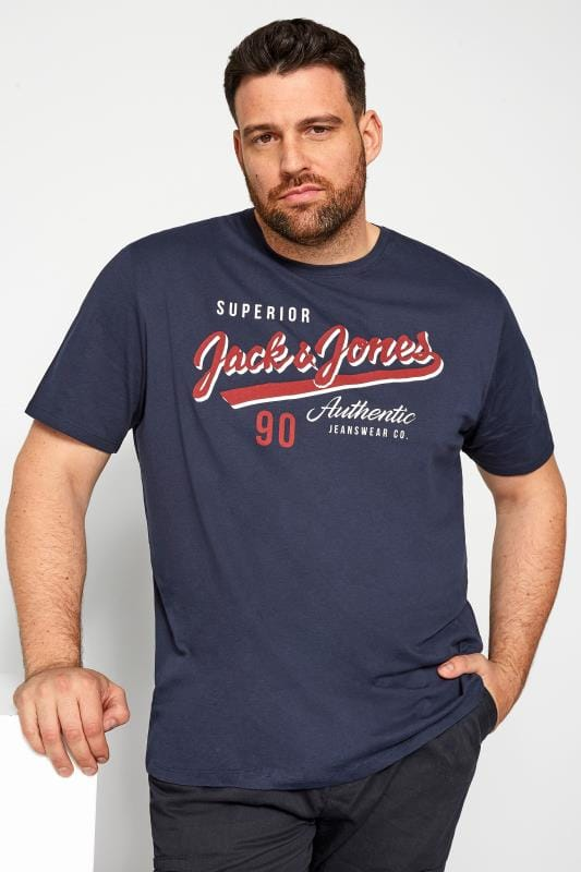 JACK & JONES Navy Graphic Logo T-Shirt