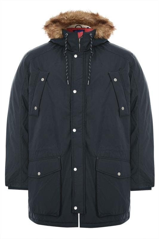 Plus Size Coats JACK & JONES Navy Parka Coat