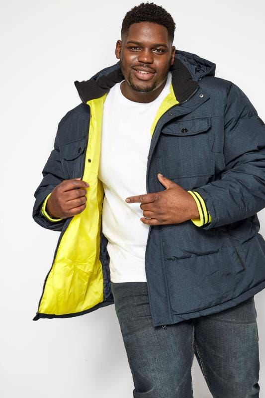 Plus Size Coats JACK & JONES Navy Puffer Jacket